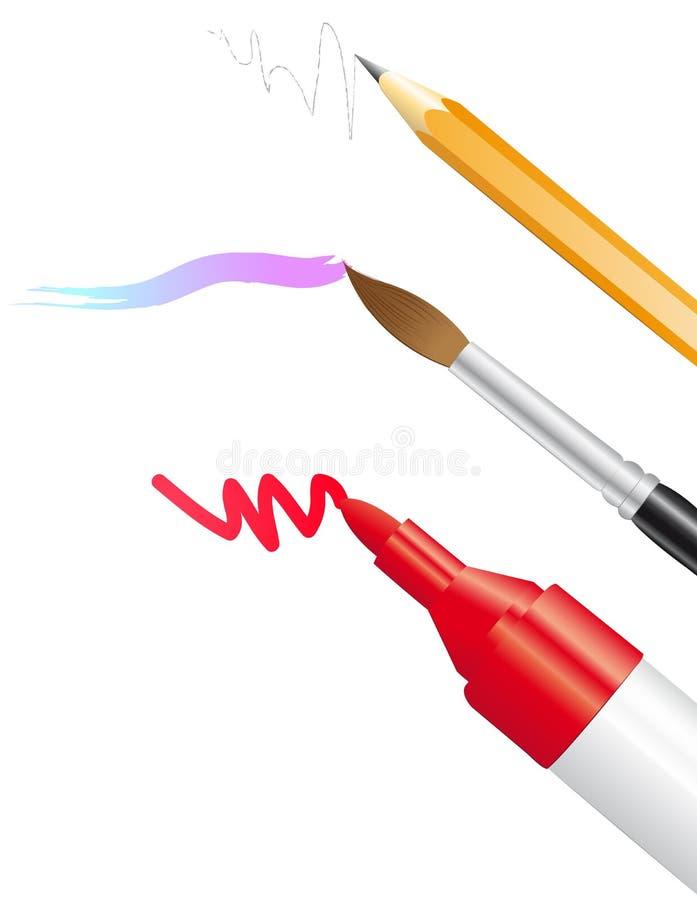 Lápiz, cepillo y etiqueta de plástico ilustración del vector