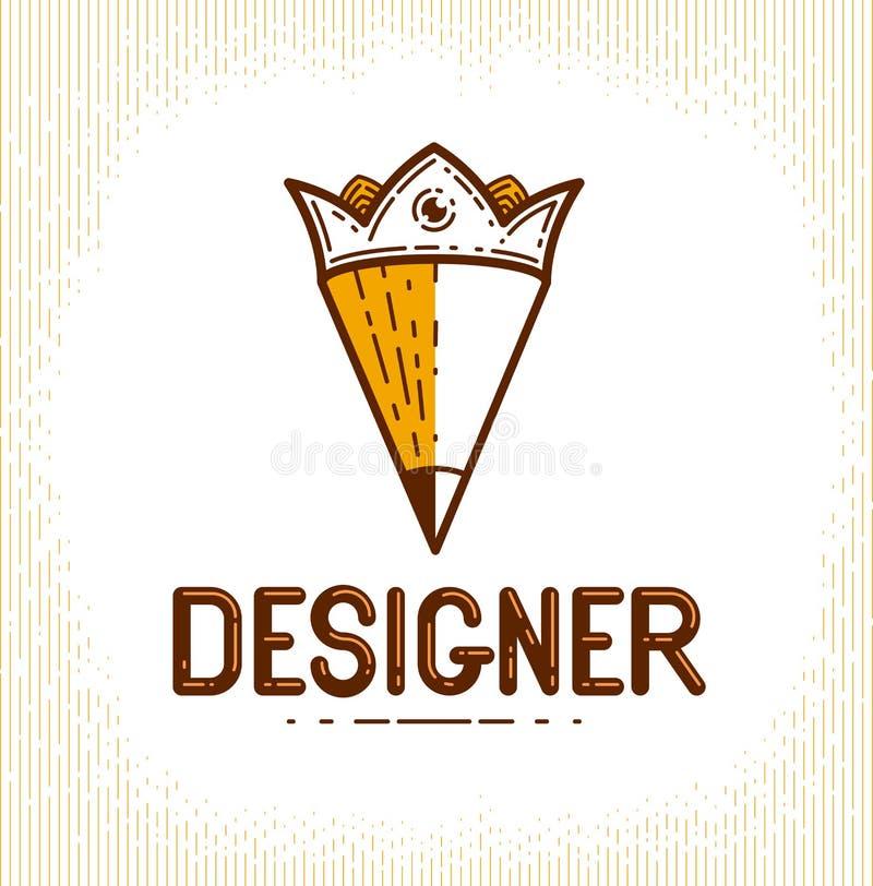 Lápiz combinado con la corona, el logotipo del vector o el icono de moda simple para el diseñador o el estudio, rey creativo, dis stock de ilustración