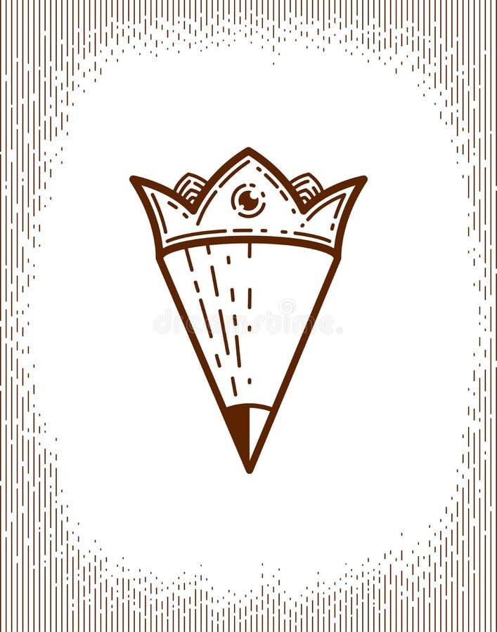 Lápiz combinado con la corona, el logotipo del vector o el icono de moda simple para el diseñador o el estudio, rey creativo stock de ilustración