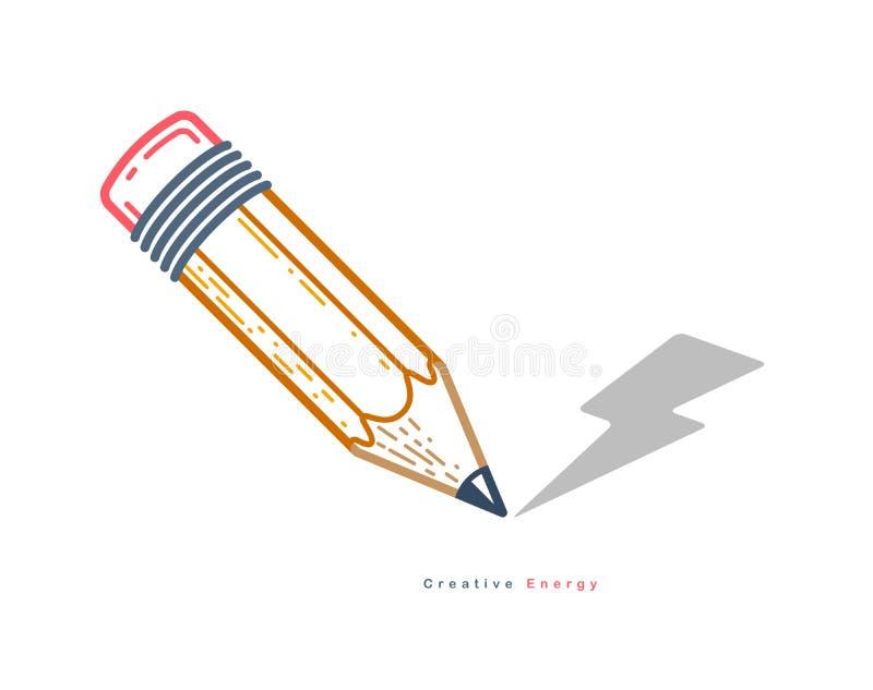 Lápiz con el logotipo de moda simple del vector del rayo o icono para el diseñador o el estudio, energía creativa, diseño brillan libre illustration