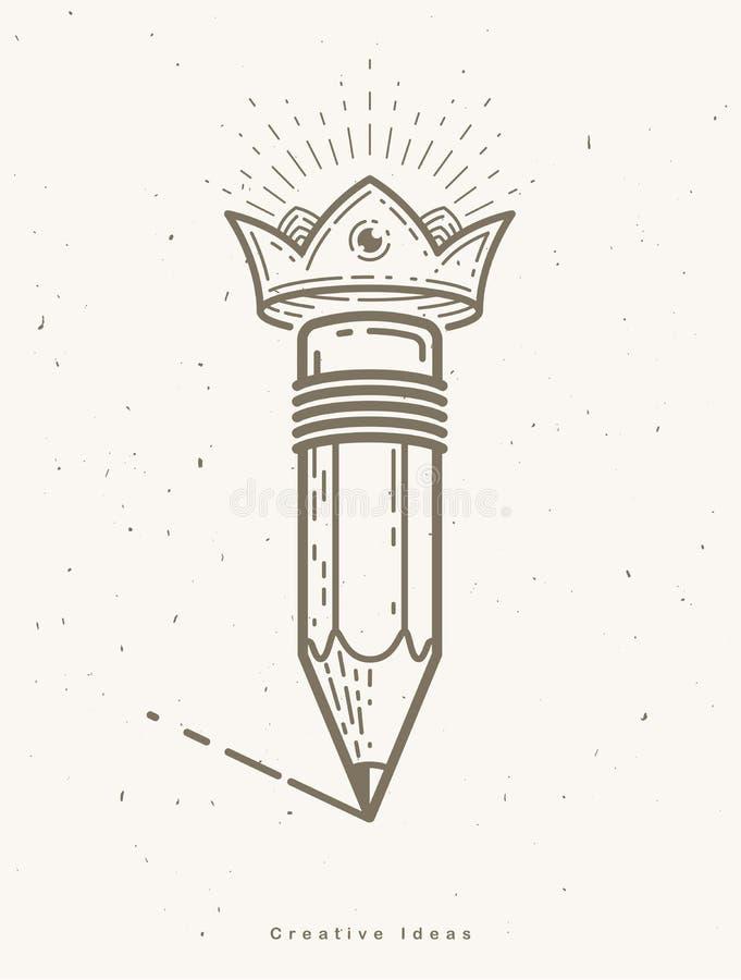 Lápiz con la corona, el logotipo del vector o el icono de moda simple para el diseñador o el estudio, rey creativo, diseño real ilustración del vector