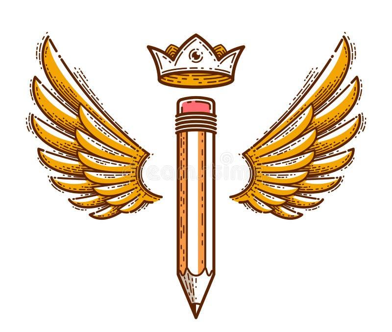 Lápiz con las alas y la corona, logotipo del vector o icono de moda simple para el diseñador o el estudio, rey creativo, diseño r libre illustration
