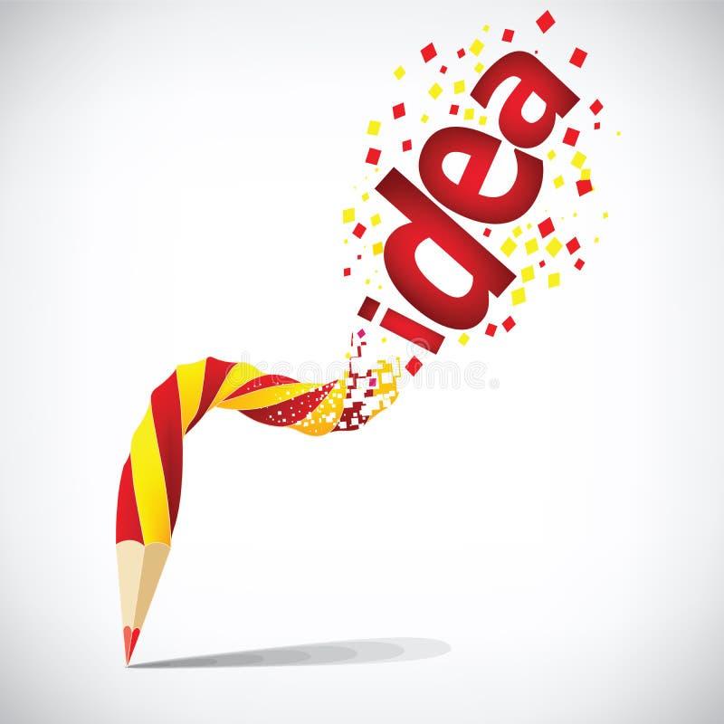 Lápiz creativo con el aislante rojo de la idea en blanco stock de ilustración