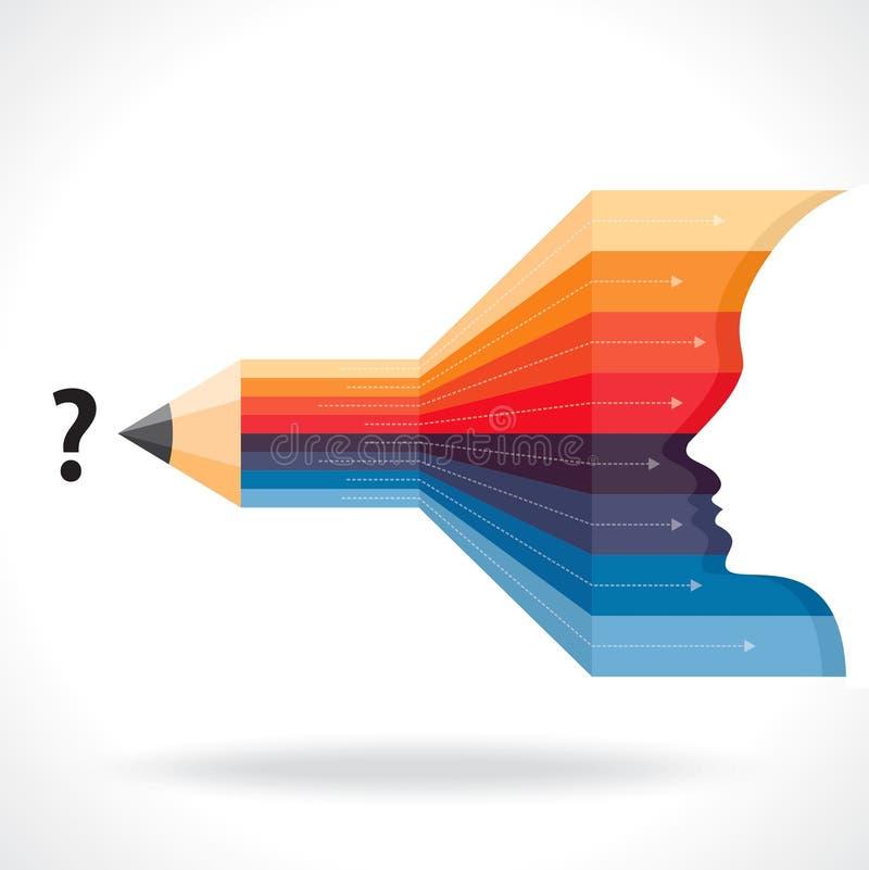 Lápiz creativo de la idea del negocio con la flecha stock de ilustración
