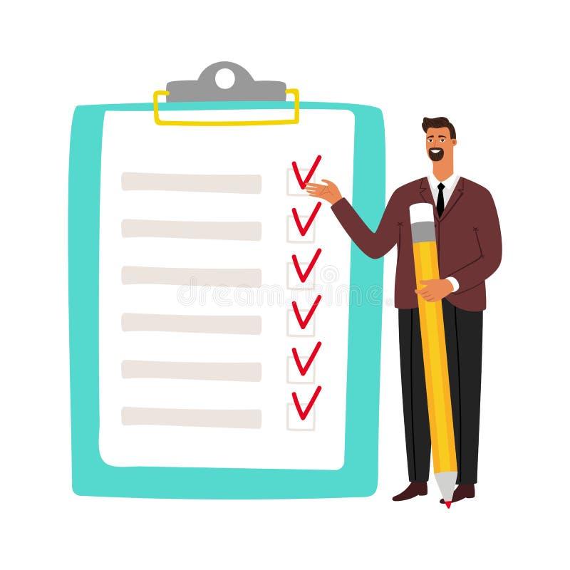 Lápiz de la tenencia del hombre del hombre de negocios y de la lista de control y hacer la gestión de tiempo del negocio de la li ilustración del vector