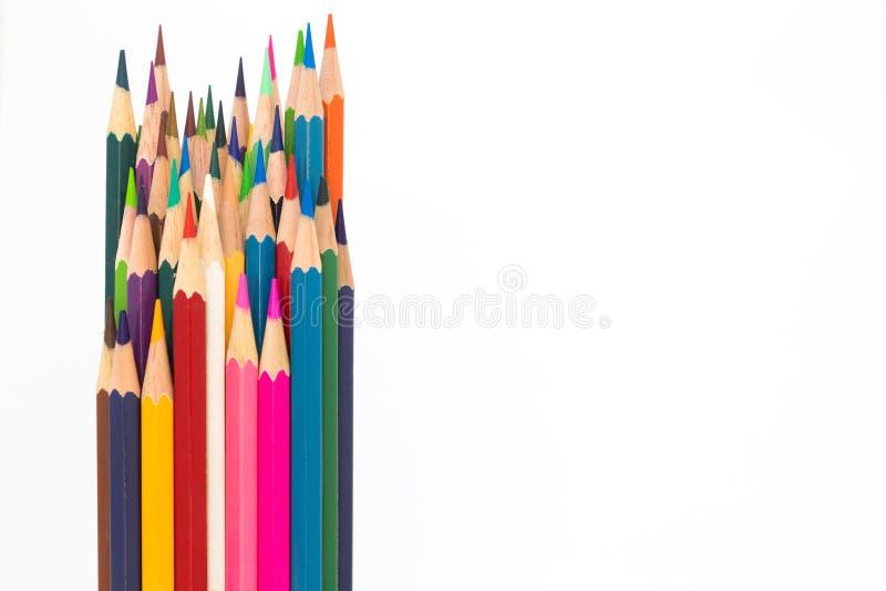 Lápiz de madera del color múltiple en blanco imagenes de archivo