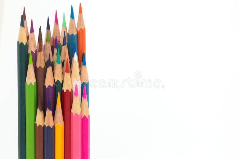 Lápiz de madera del color múltiple en blanco imagen de archivo libre de regalías