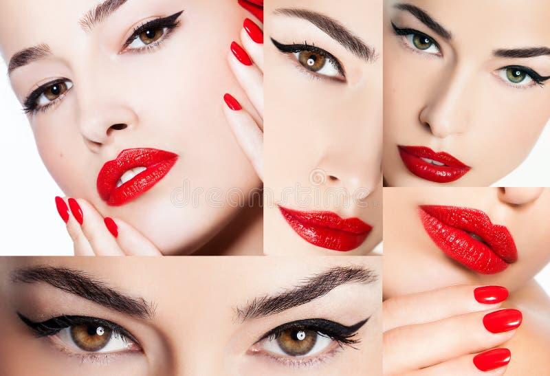 Lápiz de ojos y labios rojos, collage de la belleza imagen de archivo