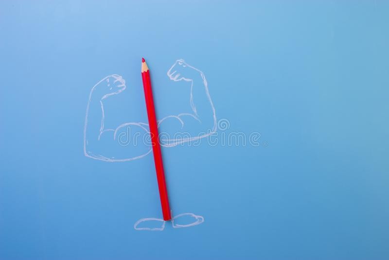 Lápiz del color con los musceles imagen de archivo libre de regalías