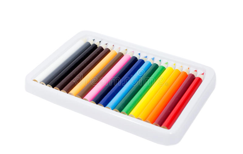 Lápiz del color en caja en blanco fotos de archivo libres de regalías