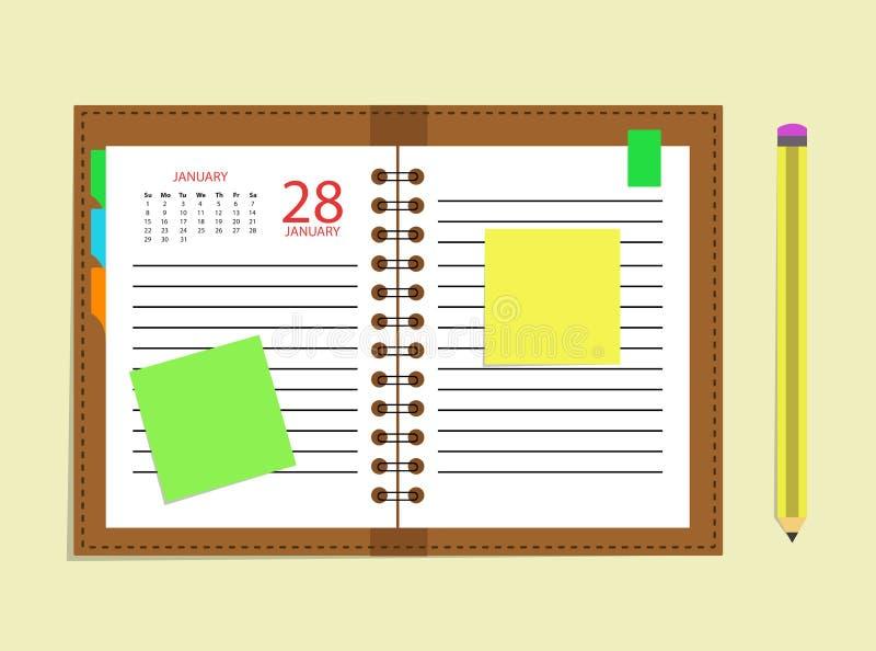 Lápiz del horario del libro de cita del calendario del diario stock de ilustración