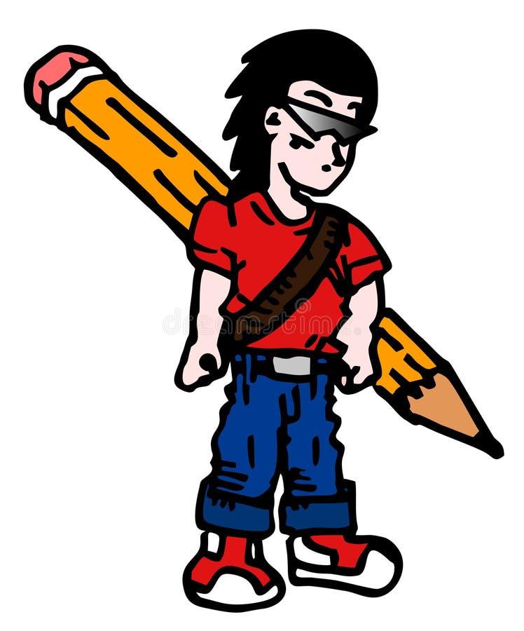 Lápiz del muchacho ilustración del vector