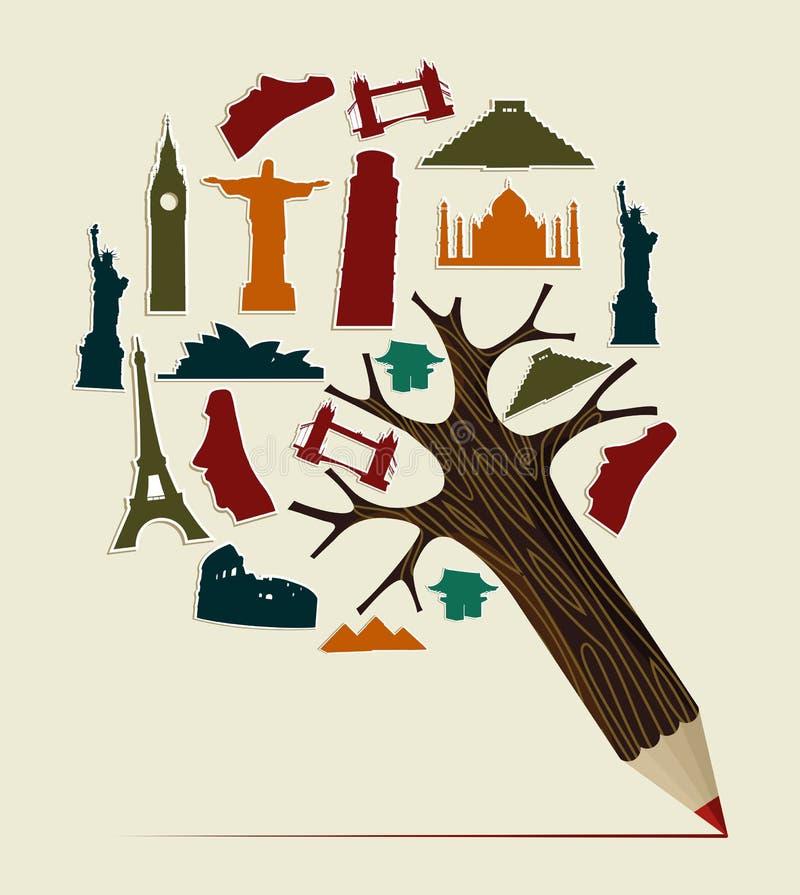 Lápiz del World Travel stock de ilustración