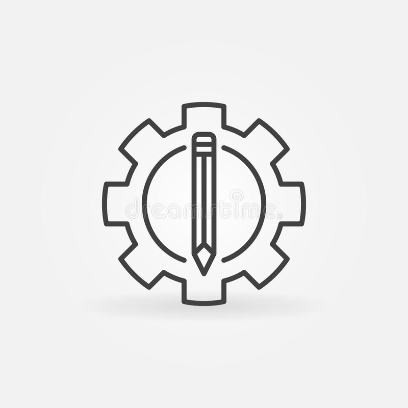 Lápiz en el icono del engranaje stock de ilustración