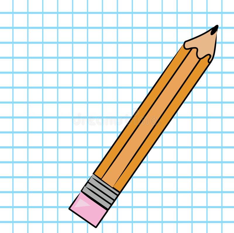 Lápiz en el papel de gráfico stock de ilustración