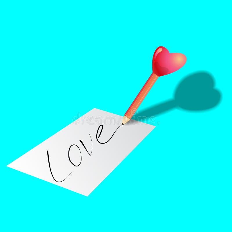Lápiz en forma de corazón fotos de archivo