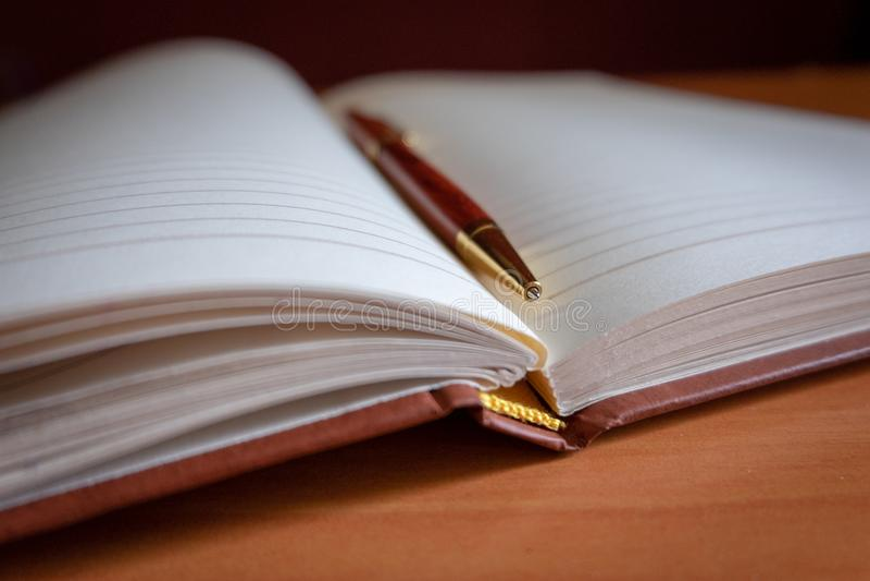 Lápiz en un diario en blanco fotos de archivo