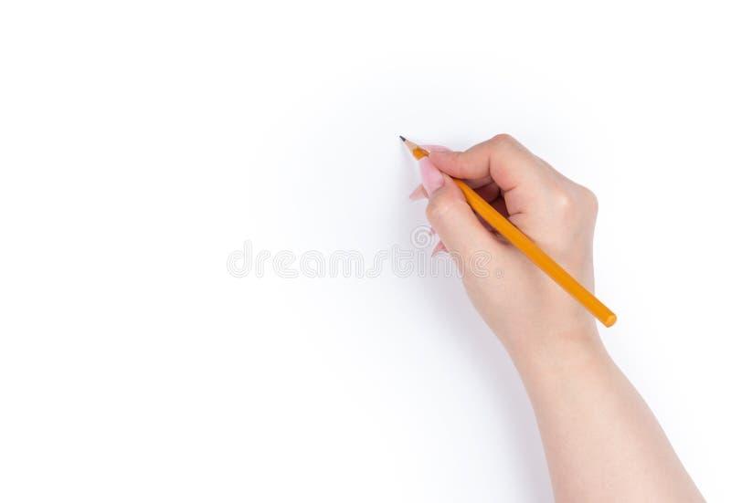Lápiz femenino de la tenencia de la mano, aislado en el fondo blanco foto de archivo libre de regalías