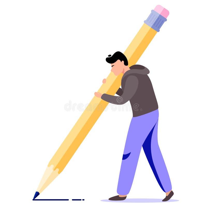 Lápiz grande del control del hombre Ejemplo del vector del escritor libre illustration