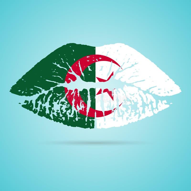 Lápiz labial de la bandera de Argelia en los labios aislados en un fondo blanco Ilustración del vector libre illustration