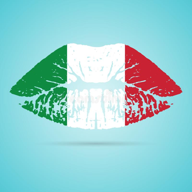 Lápiz labial de la bandera de Italia en los labios aislados en un fondo blanco Ilustración del vector stock de ilustración