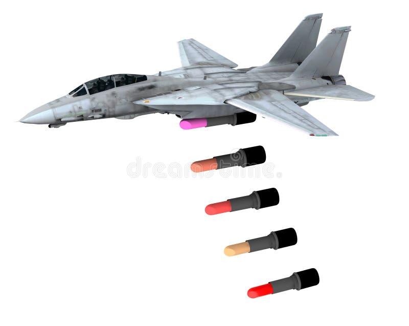 Lápiz labial de lanzamiento del avión de combate en vez de bombas libre illustration