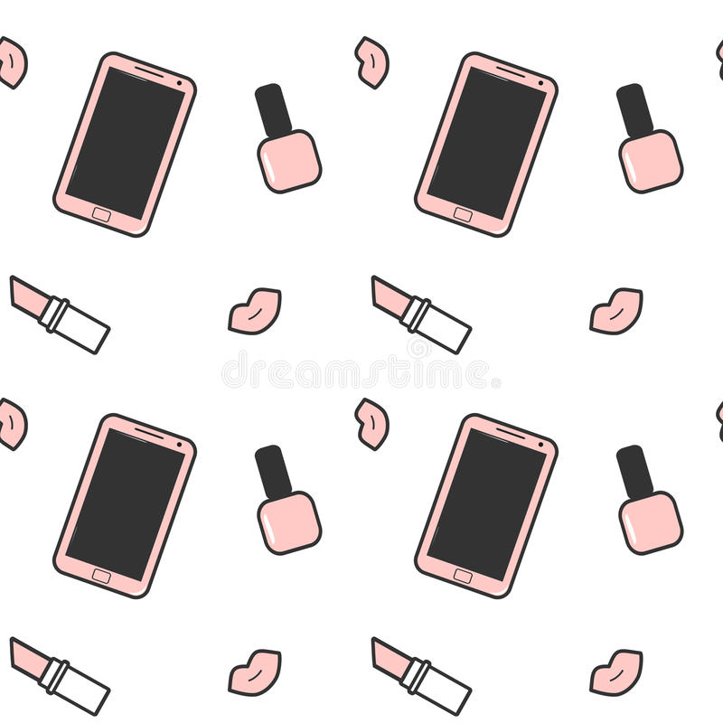 Lápiz labial negro blanco rosado lindo del esmalte de uñas del smartphone y ejemplo inconsútil del fondo del modelo de los labios stock de ilustración