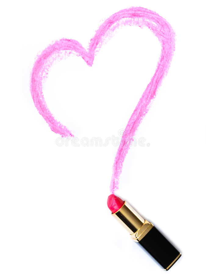 Lápiz labial pintado corazón imagenes de archivo