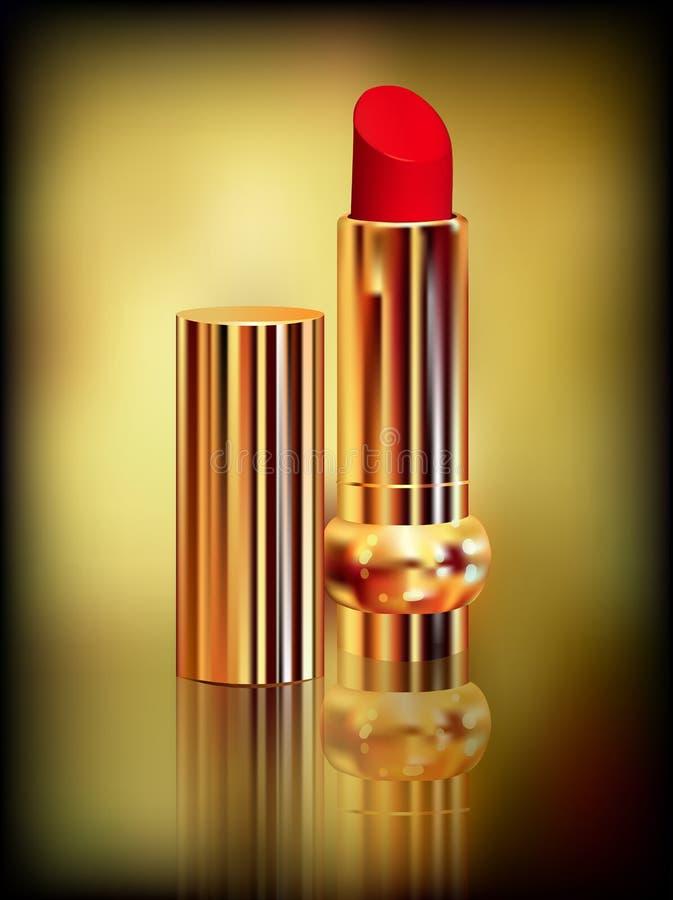 Lápiz labial rojo en tubo del oro Creado con las mallas de la pendiente ilustración del vector