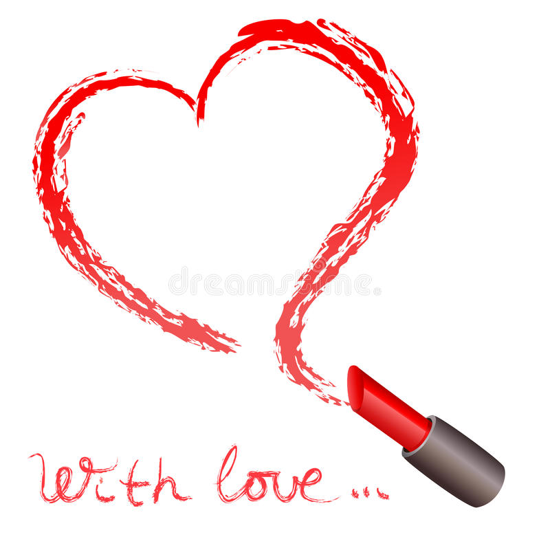 Lápiz labial y un rastro bajo la forma de corazón stock de ilustración