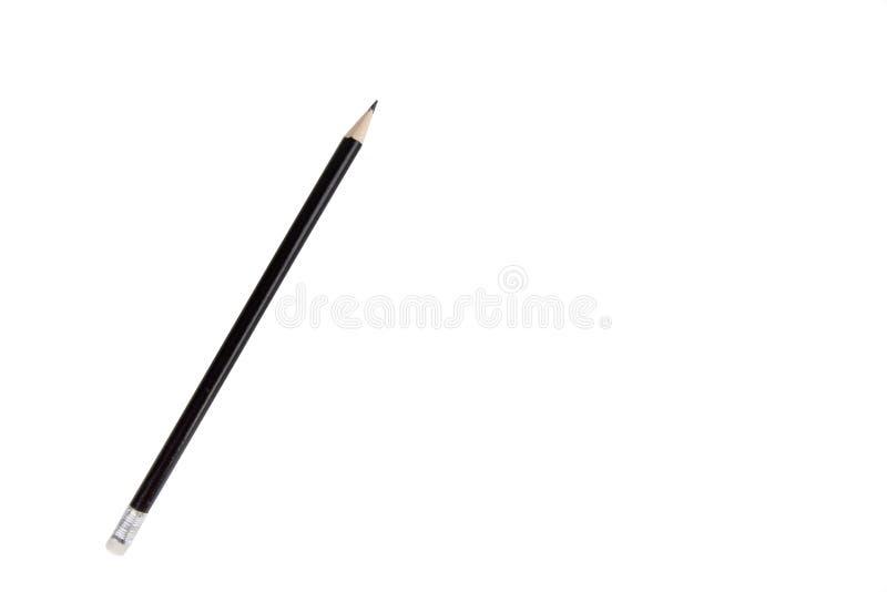 Lápiz negro con el borrador aislado en el fondo blanco imagen de archivo