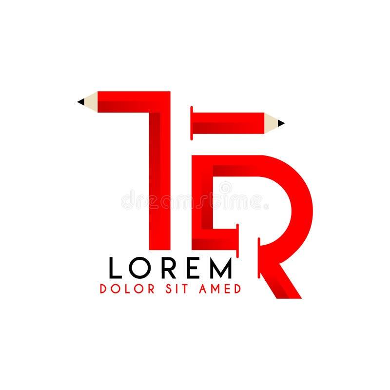 Lápiz negro rojo mayúsculo Logo Design simple 2 del TR del logotipo inicial ilustración del vector
