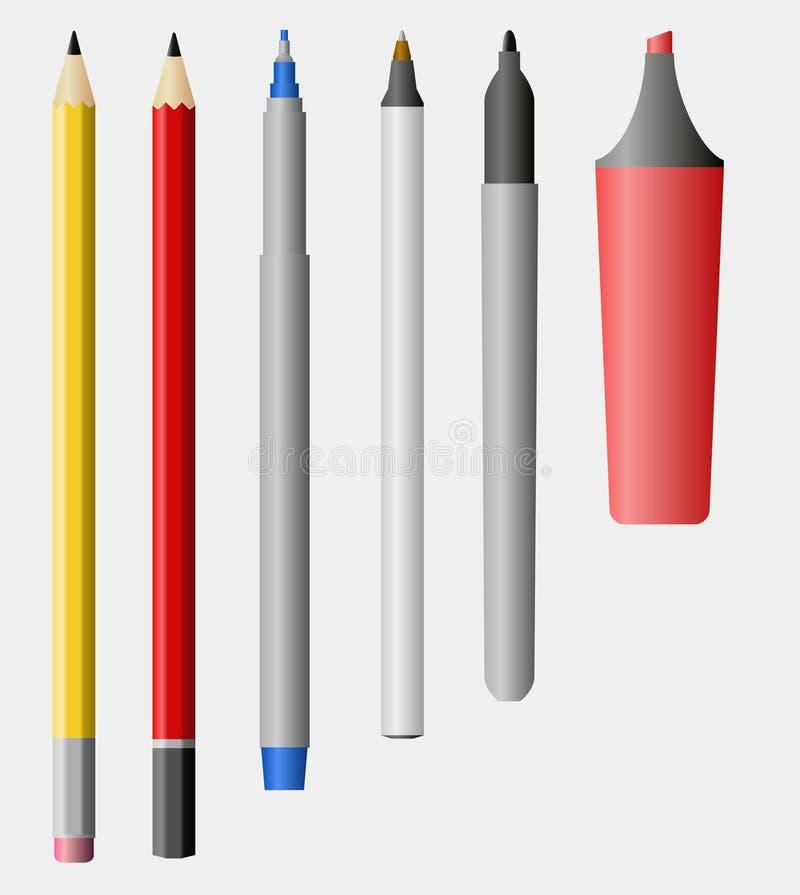 Lápiz, pluma, etiqueta de plástico libre illustration
