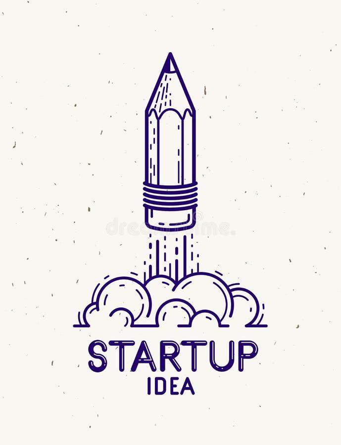 Lápiz que lanza como un comienzo del cohete para arriba, artista o diseñador creativo, logotipo o icono, arte del genio de la ene stock de ilustración