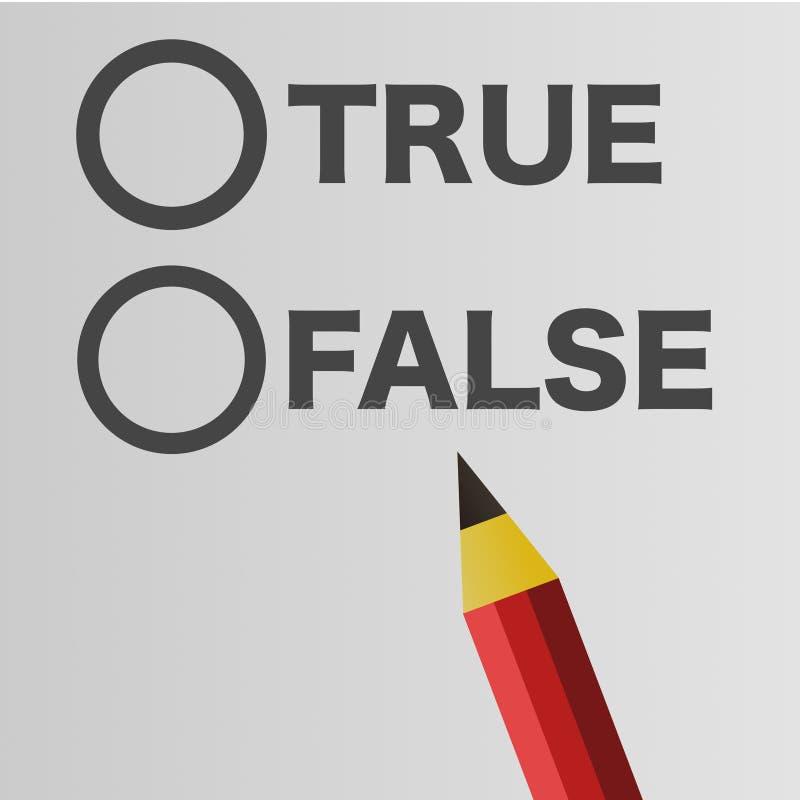 Lápiz rojo con verdad y falso fotografía de archivo libre de regalías