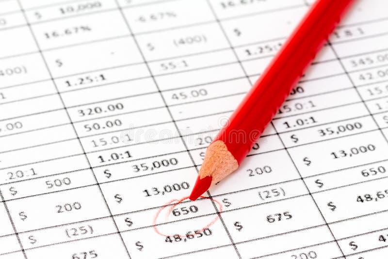 Lápiz rojo en un informe con muchos dígitos imagen de archivo libre de regalías