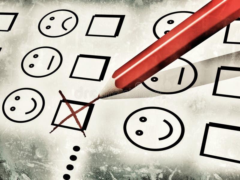 Lápiz rojo usado para rellenar un impreso de la satisfacción del cliente stock de ilustración