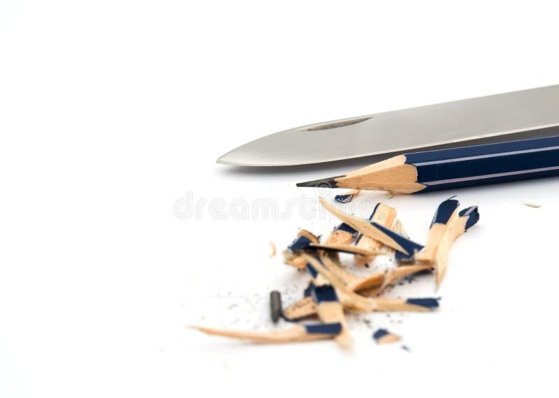 Lápiz y cuchillo fotos de archivo