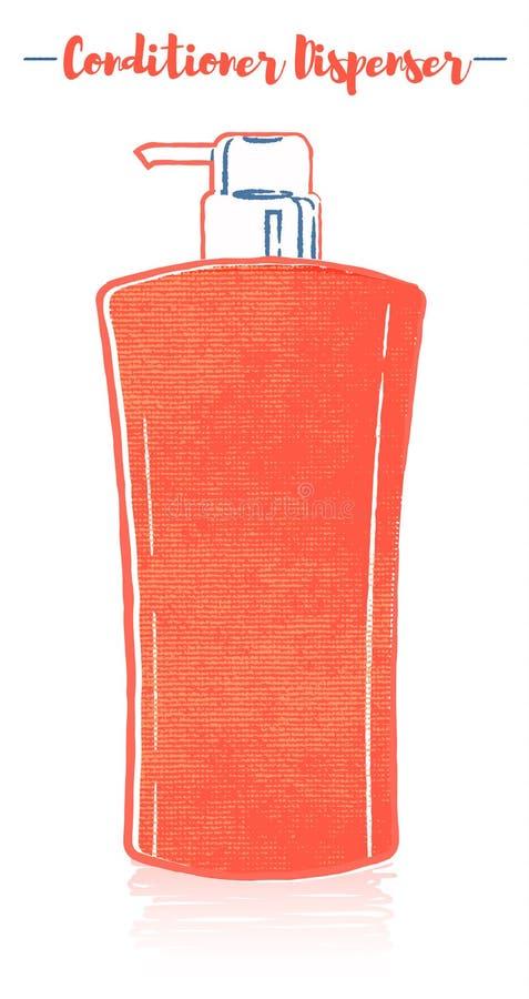 Lápiz y ejemplo anaranjado texturizado del vector del estilo de una botella del dispensador del acondicionador de la aclaración d ilustración del vector
