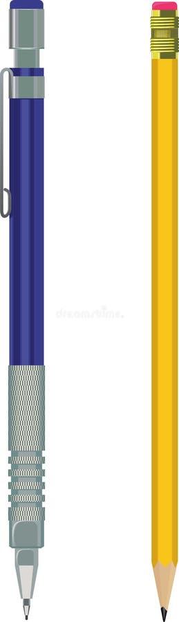 Lápiz y lápiz automático stock de ilustración