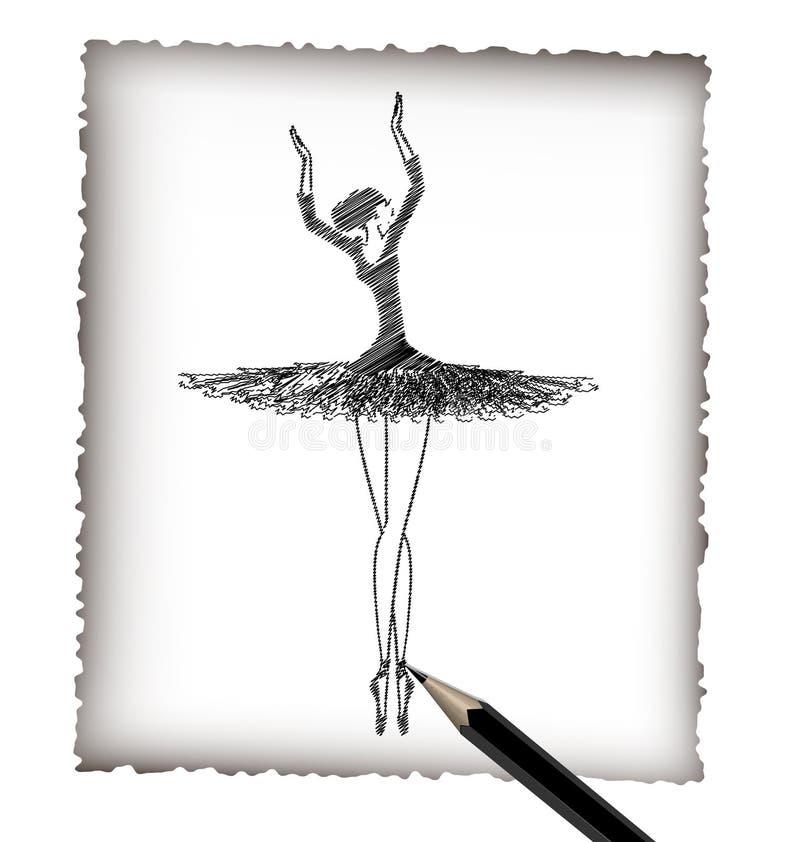 Lápiz y la imagen del ballet stock de ilustración