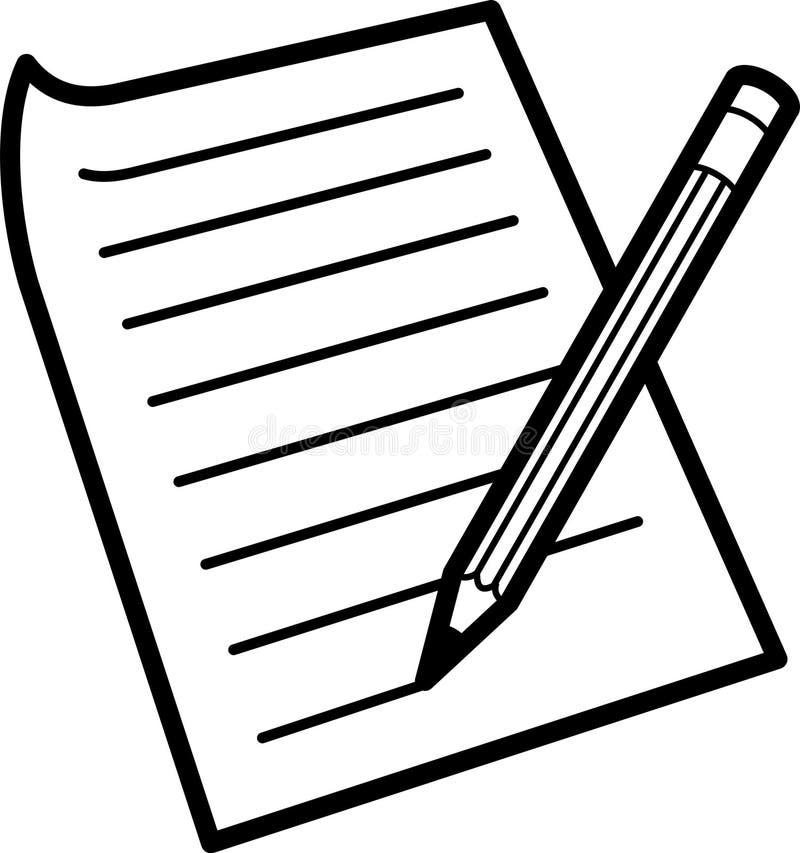 Lápiz y papel stock de ilustración