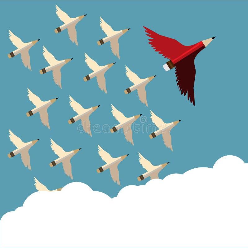 L?piz y seguidor rojos con el vuelo del ala al cielo oblicuo a la derecha stock de ilustración
