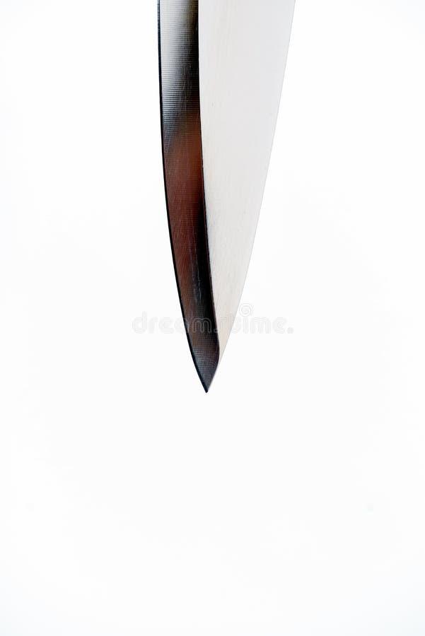 Lâmina macro da borda da faca afiada do metal imagens de stock