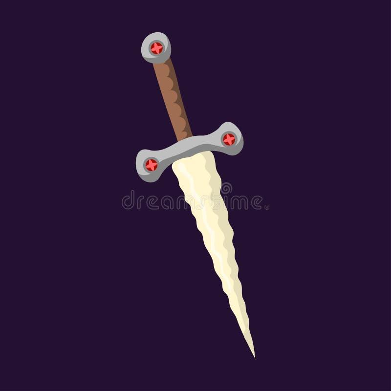 A lâmina metálica perigosa da arma da faca da lança da espada afiou o aço frio da proteção ou do ataque da baioneta do andbonder  ilustração stock