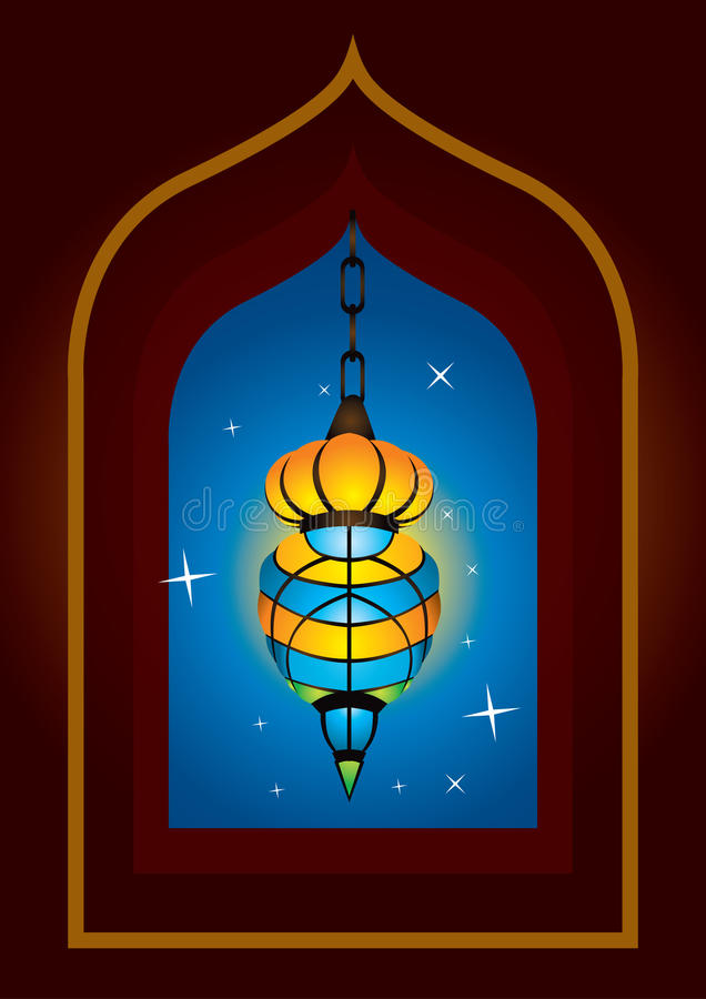 Lâmpada árabe intricada ilustração do vetor