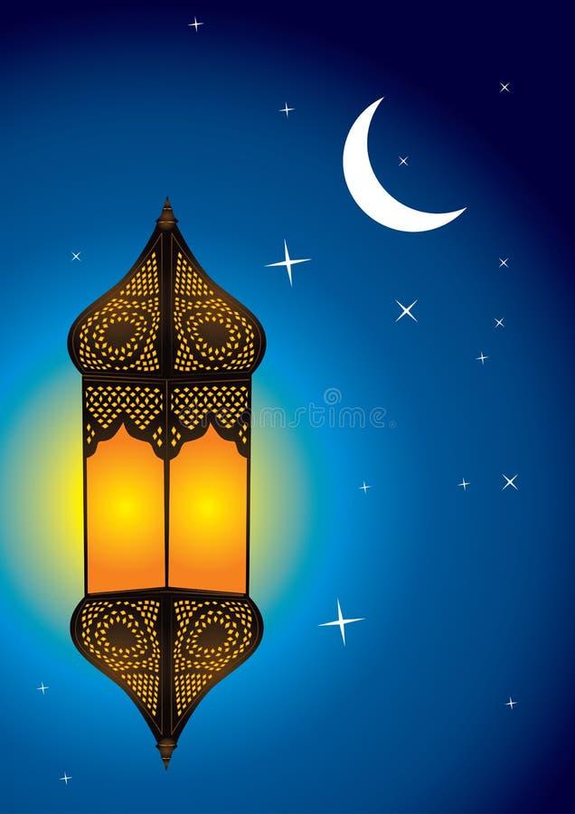 Lâmpada árabe intricada com crescente da lua ilustração do vetor
