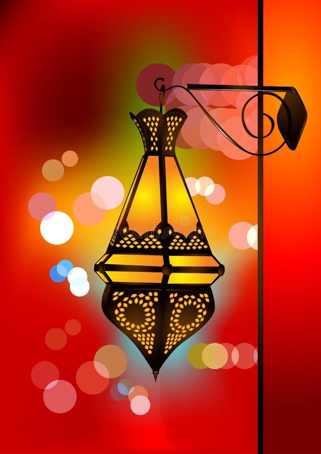 Lâmpada árabe intricada com luzes borradas ilustração royalty free