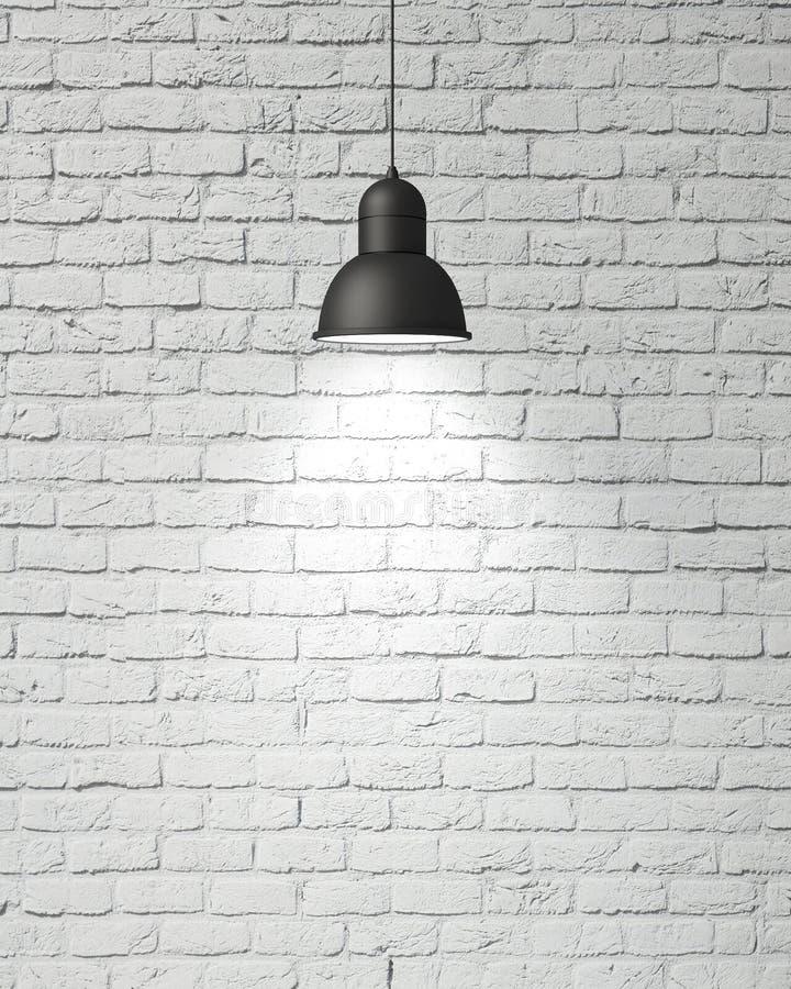 A lâmpada branca de suspensão com sombra no branco do vintage pintou a parede de tijolo, fundo ilustração do vetor