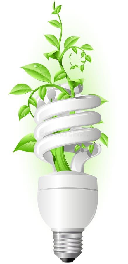 Lâmpada com planta ilustração stock